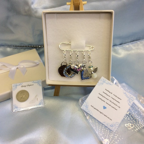 Wedding Gifts For Bride Something Blue : Bridal garter charm pin, wedding gift. Something old, something new ...