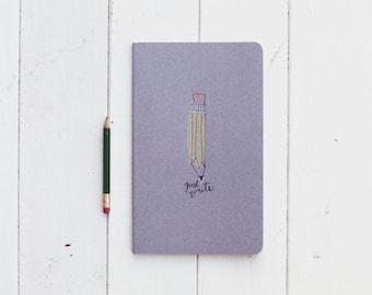 Large Cahier Notebook- Just Write Notebook- Gray Moleskine Journal