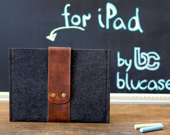 Felt iPad Mini Case with Leather strap closure. Leather Cover for iPad Mini 1 2 3 4. iPad Mini Sleeve Bag with felt & leather