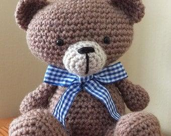 Handmade Crochet Bear by Little Gems Crochet - amigurumi teddy bear with gingham ribbon