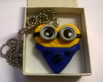 Minion necklace in the shape of heart