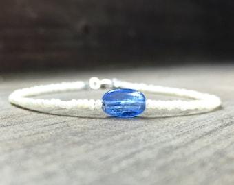 Something blue bracelet Kyanite bracelet delicate bridal bracelet tiny pearls bracelet wedding bracelet something blue bracelet pearls