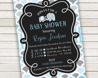 baby shower invitation boy elephant, printed baby shower invitations with elephants, printable baby shower invites for boys, blue and gray