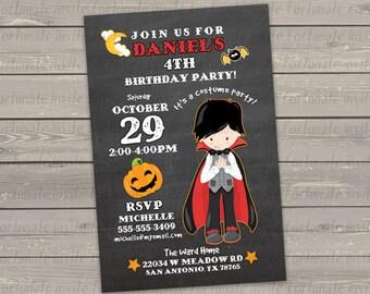 halloween birthday invitation, printable kids birthday costume party invitation, boy vampire invitation