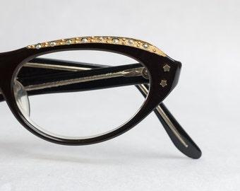 REAL Vintage 1960s Swan Spring Cat Eye Glasses Size 46 Brown Frames Eyewear