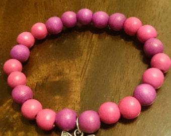 Butterfly wooden bead bracelet