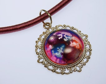 Cabochon glass art universe - chain on the pink silk ribbon
