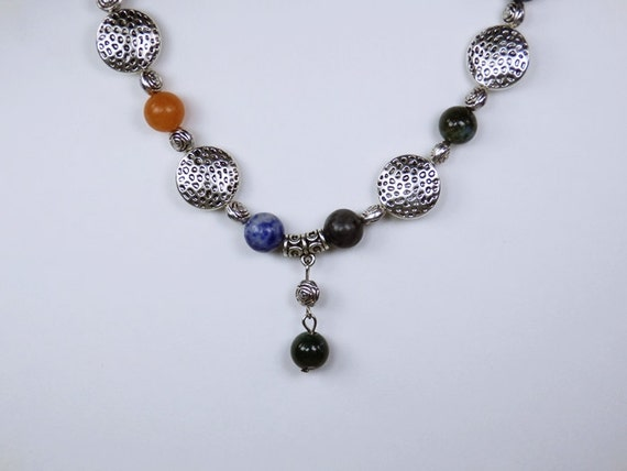 Gemstone necklace with colorful gemstone beads silver colored Metal beads Gemstone Jewelry Colorful