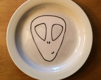 Cute Alien Hand Painted Decorative Plate
