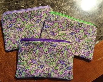 Purple Paisley Zippered Pouch