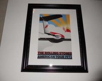"""Large Framed Rolling Stones 1972 North American Tour Mick Jagger/Keith Richards Art 24"""" by 20"""""""