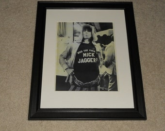 """Framed Rolling Stones Keith Richards """"F--- Mick!"""" 1972 Mini-Poster, 14"""" by 17"""" Beautiful!"""
