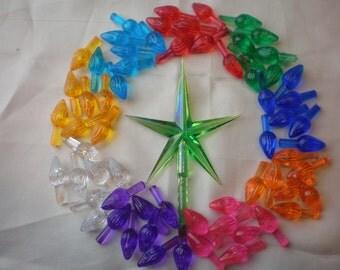 Vintage Ceramic Christmas Tree Lights Bulbs 60 Twist 9 colors & Beautiful Green Aurora Star *NEW*...Low Shipping!