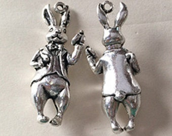3pcs Antique Silver 3D Bunny Charm Pendants 14x37mm WAB302-5
