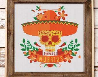 Cross Stitch Pattern Mexican Halloween Skull // Instant PDF Download