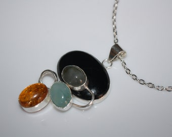 Black Onyx Amber 925 Silver Overlay Pendant Long Chain Necklace