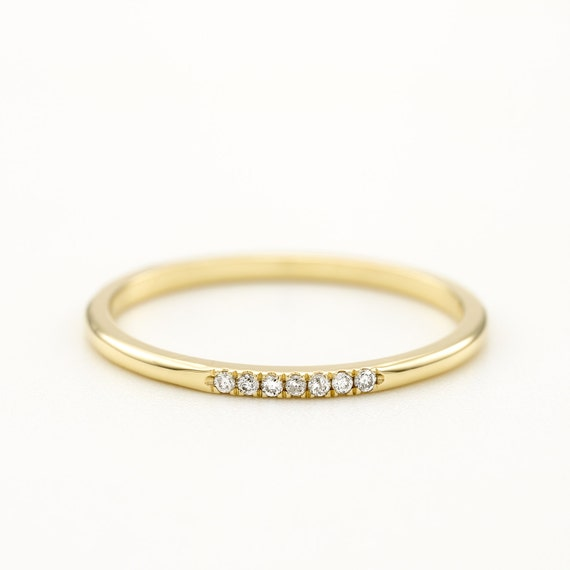 round diamond wedding ring thin wedding band gold wedding band women rose gold