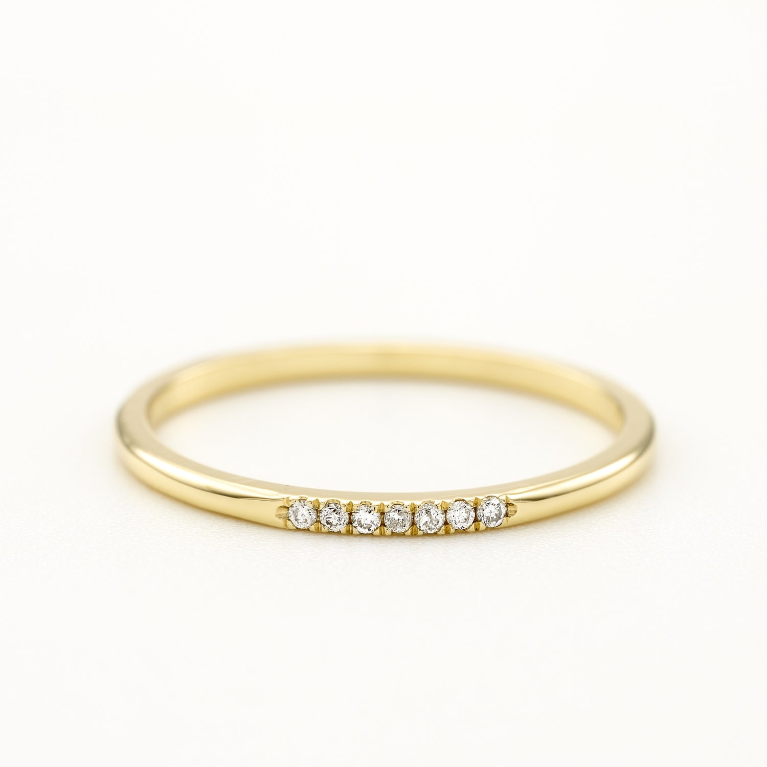 Round Diamond Wedding Ring Thin Wedding Band Gold Wedding