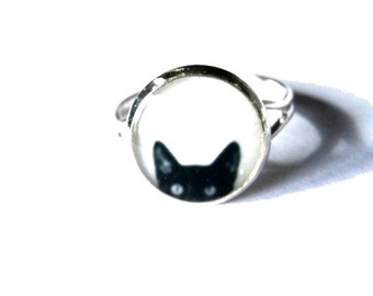 CAT RING - BLACK cat necklace - cat kid gift - Animal necklace - Kids jewelry - resin jewelry - Children jewelry