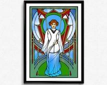 Lustrana - The Keeper of Peace // Downloadable Poster, Empowered women, Inspirational Art, INFJ Art, Wall Art, Stained Glass, Original Art,