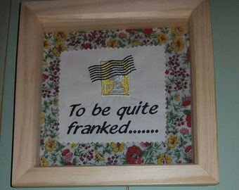 Wooden box framed embroidered stamp