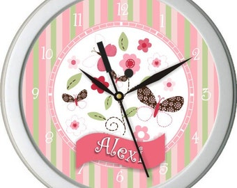 "Flowers and Butterflies Personalized 10"" Nursery / Children Wall Clock"