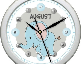 "Blue Elephant Personalized 10"" Nursery Wall Clock"