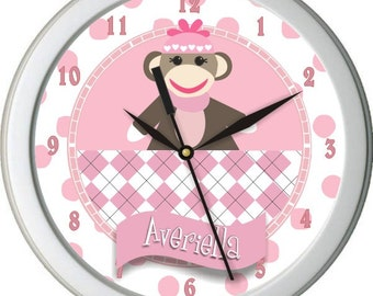 "Girl Sock Monkey Personalized 10"" Nursery / Children Wall Clock"