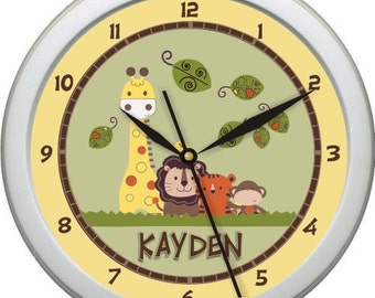 "Jungle Walk Personalized 10"" Nursery / Children Wall Clock"