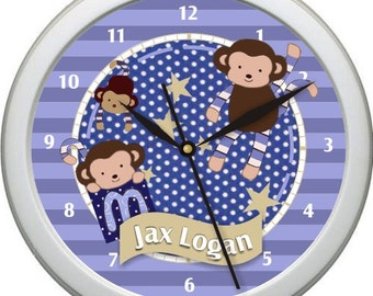 "Monkey Mania Personalized 10"" Nursery / Children Wall Clock"