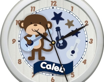"Monkey Rock Star Personalized 10"" Nursery / Children Wall Clock"