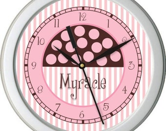"Pink and Brown Gumball Boutique Personalized 10"" Wall Clock"