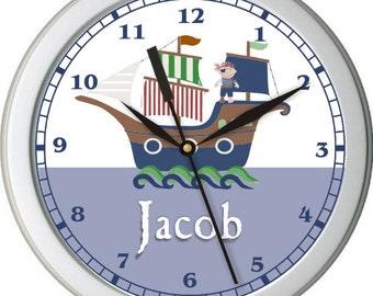 "Pirate Adventure Personalized 10"" Nursery Wall Clock"