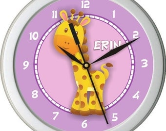 "Silly Giraffe Personalized 10"" Nursery / Children Wall Clock"