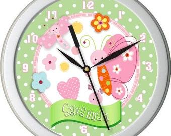 "Sunshine Garden Personalized 10"" Nursery / Children Wall Clock"