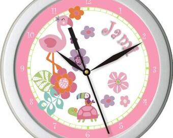 "Tropical Garden Garden Personalized 10"" Nursery / Children Wall Clock"