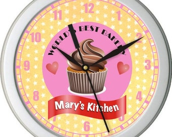 Worls Best Bakery Personalized Kitchen Wall Clock