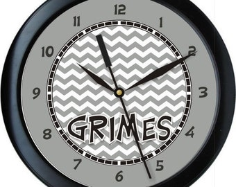 """Gray and Black Chevron 10"""" Wall Clock Personalized Girls Room Decor Gift"""