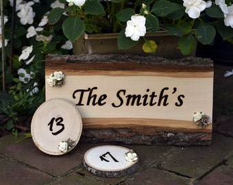 Wood Burned Wedding Table Numbers and Sign