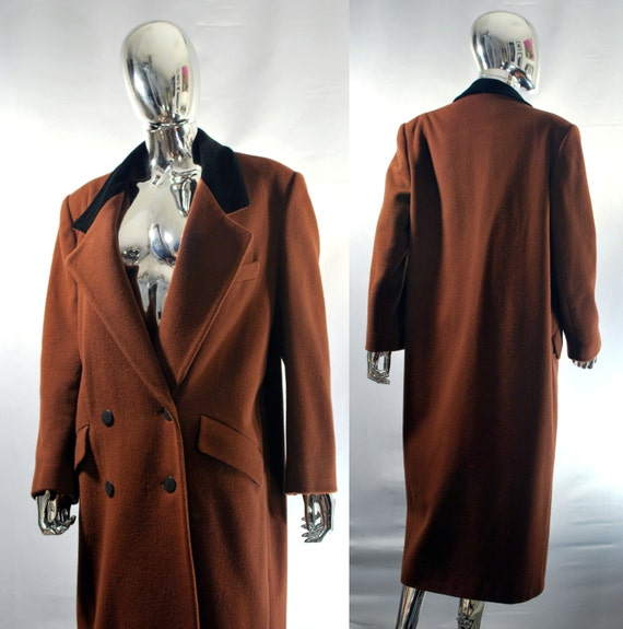 Ladies Brown Wool Coat Women's Long Heavy Winter by JSWvintage