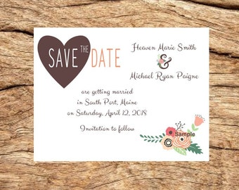 100 Personalized Custom Rustic Heart Floral Wedding Save The Date Cards with Envelopes