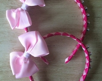Pink Woven Personalised Boutique Bow Headband
