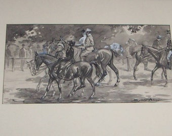 Sydney Adamson Illustration Riding Rotten Row, Hyde Park, London Ink Wash Heightened w White for Harper & Brothers 1905 Signed Listed Artist