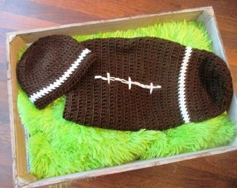 Football Costume: Crochet Brown, Newborn, Halloween Costume, Baby, Sport, College, NFL Team, Adult