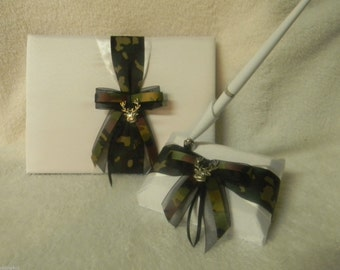Wedding Reception Ceremony Party Camo Deer Hunting Hunter Guest Book and Pen On Sale