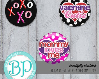 Xs and Os - Valentine's Bottle Cap Images - Digital Collage Sheet - 1 Inch Circles for Bottlecaps, Hair Bows, Pendants - Instant Download