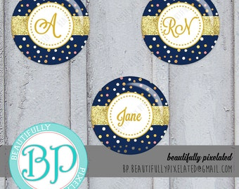Navy Polkadotted & Gold Glitter - Editable Bottle Cap Images - Digital Collage Sheet - 1 Inch Circles for Bottlecaps, Hair Bows, Pendants
