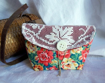 Beautiful floral printed cotton canvas pouch