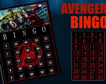 Avengers bingo game with 15 unique bingo cards and 75 medium calling cards - Printable, INSTANT DOWNLOAD