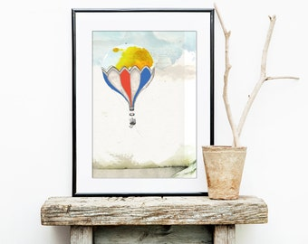 "UP! // A4 (8""x11"") Print, Balloon, Artprint, Colorful, Journey, Travel, Adventure, Hotairballoon"
